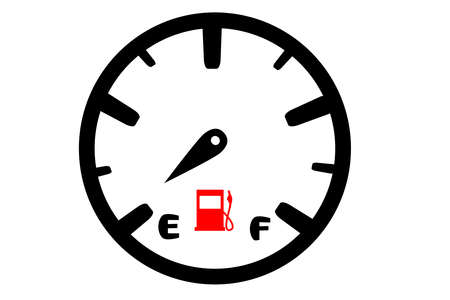 Car fuel gauge almost empty, illustration and vector