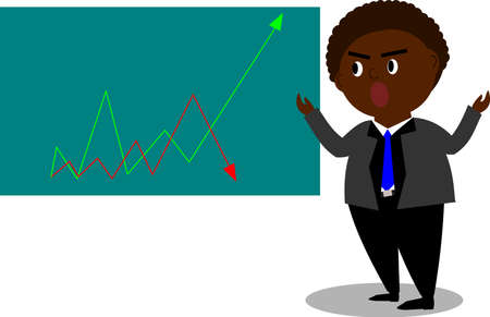 Dark skin man in suit is reviewing about stock market up and down
