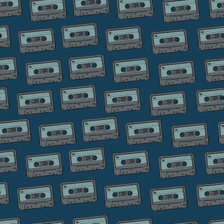 Vector seamless blue cassettes pattern Illustration