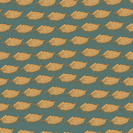 Vector seamless pattern with blue background and beige seashells Illustration