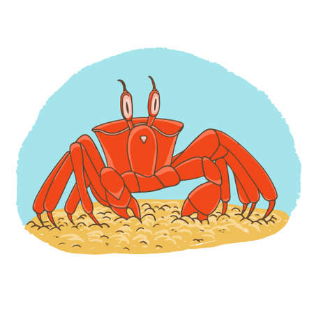 Vector illustration with red crab on the sandy beach