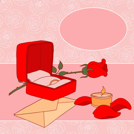 Vector illustration with rose, wedding ring and candle