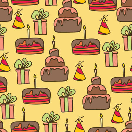 vector seamless colourful birthday pattern Illustration