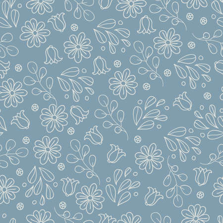 seamless grey pattern with flowers