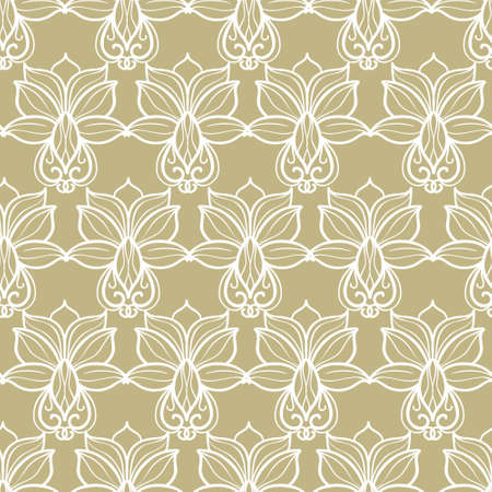 Abstract floral beige pattern with white ornament Illustration