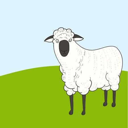 Cartoon sheep on green hill