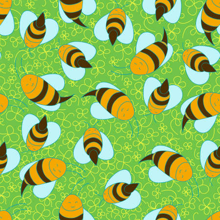 Seamless bees background Stock Vector - 22071287