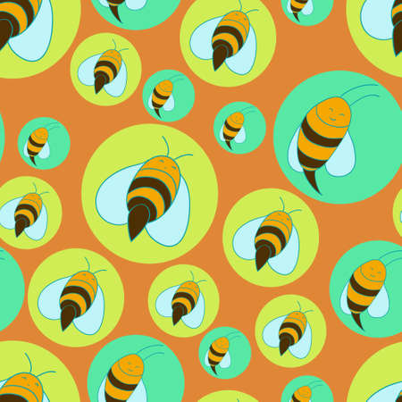 Seamless bees background Vector