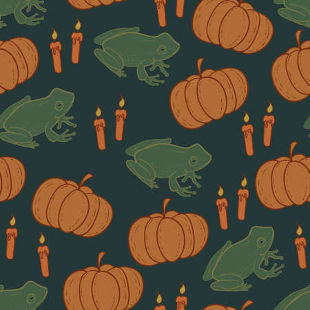 Dark halloween background with pumpkins, frogs and candles