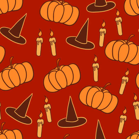 Orange halloween background with pointed hats