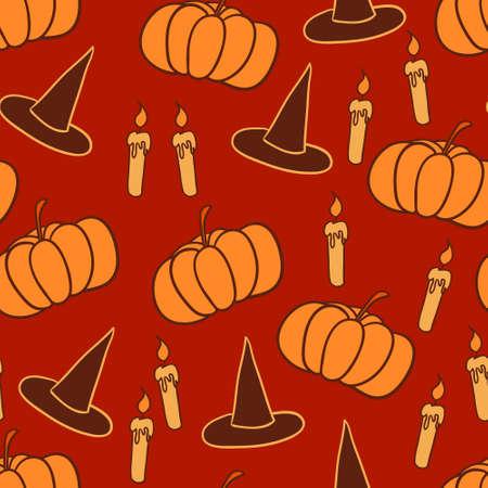 puntig: Oranje halloween achtergrond met puntige hoeden