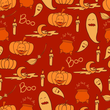 Orange halloween background with pumpkins and ghosts Illustration