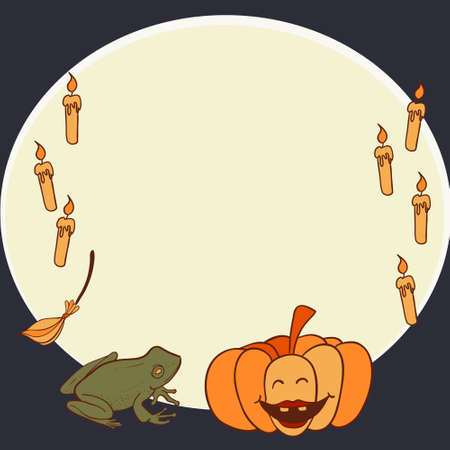 Halloween frame with pumpkin, candles and frog Illustration