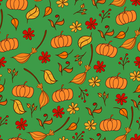 Autumn background with pumpkins and brooms Illustration