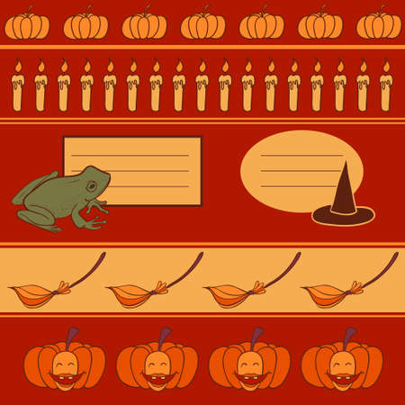 Vector set of cute halloween objects Illustration