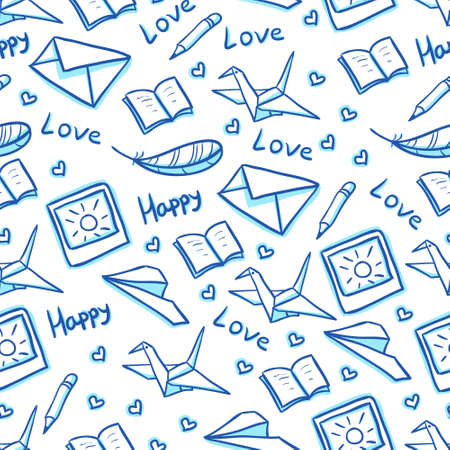 Mail seamless background with paper planes, envelopes and photos