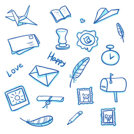 Mail objects set with envelopes, letters and mailboxes Illustration