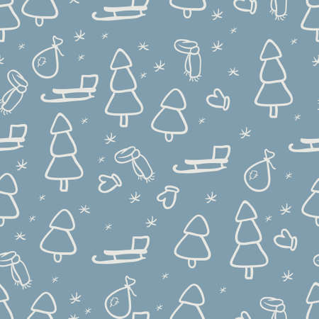 Winter seamless background with sleigh and firs Illustration