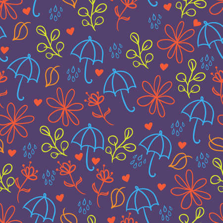 Seamless background with umbrellas, leafs and flowers