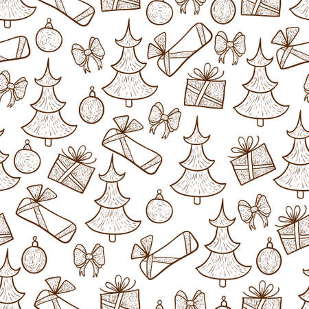 Background with christmas decorations in retro style Illustration