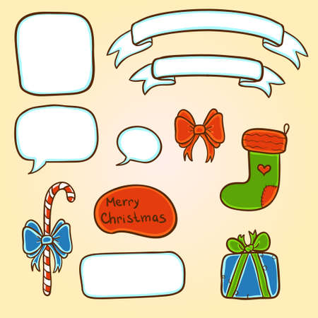 Christmas objects set with candy, stocking, speech clouds and ribbons