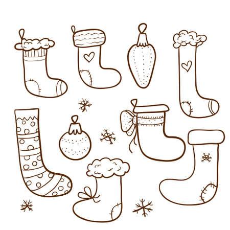 Christmas set with stockings and christmas tree decorations