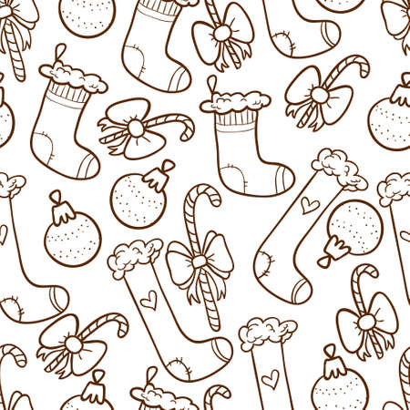 Christmas seamless background with stockings and candy canes