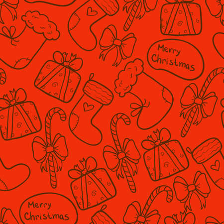 Christmas seamless red background with presents and candy canes