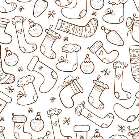 Christmas seamless background with stockings and christmas tree decorations Illustration