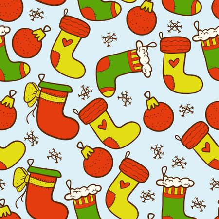 Christmas seamless background with colourful christmas stockings