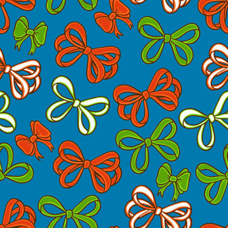 Cute vector set with red and green bows Illustration