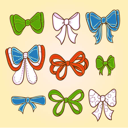 Cute set with green, blue and red bows