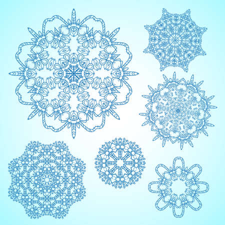Set of sophisticated vector snowflakes