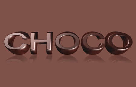 Illustration of 3d text CHOCO isolated on brown background    illustration