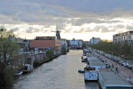 amsterdam canal: Amsterdam Canal and Windmill
