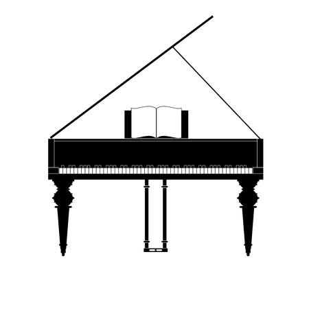 Piano à queue silhouette noire isolée en vue frontale avec quantité correcte de touches noires et blanches dans le bon ordre. Instrument de musique classique. Illustration vectorielle Vecteurs