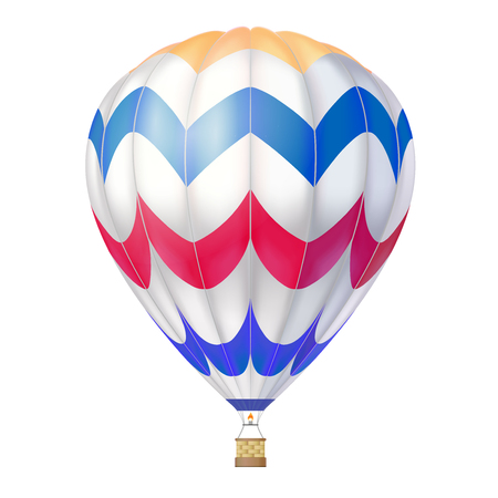 Vector 3d hot air balloon. Isolated on white.