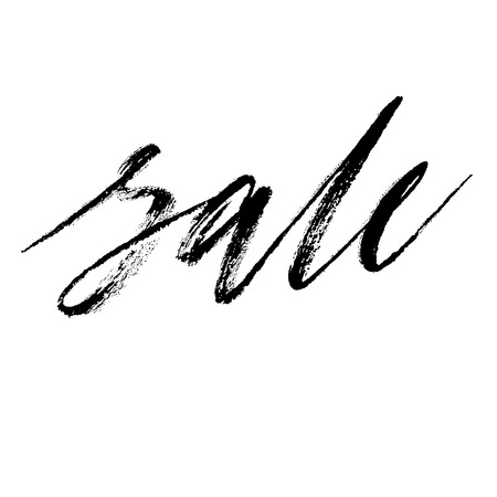 Sale grunge lettering, handwritten with dry brush, calligraphic word. Brush artwork. Vector isolated illustration, black on white background