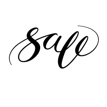 Sale handwritten lettering, calligraphic word. Brush artwork. Vector isolated illustration, black on white background Иллюстрация