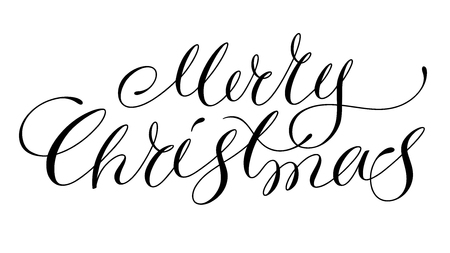 Merry christmas lettering isolated on white Иллюстрация