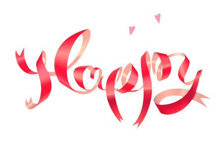 Happy 3d lettering red pink satin glossy vector ribbon with heart isolated on white Иллюстрация