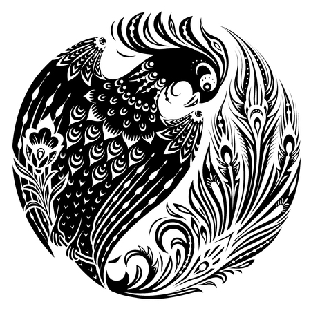 Firebird in circle in decorative vintage style. Magic fairy bird in ethnic folk manner. Black and white vector illustration Vettoriali