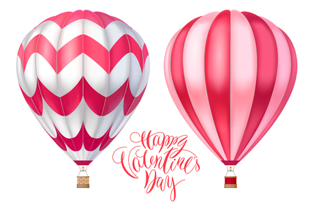 3D hot air pink red balloons with stripes cartoon vector illustration with lettering for Happy Valentines day realistic model isolated on white background.