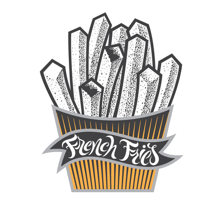 French fries illustration with lettering. Chips fast food in paper box. Fsat food vintage isolated illustration for menu in restaurant, bar, cafe.