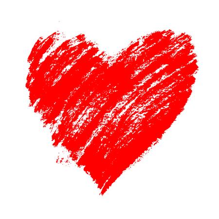 Coração vermelho grunge mão desenhada com salpicos e pinceladas. Símbolo do amor e dia dos namorados. Elemento do vetor para o projeto do feriado, isolado no branco.