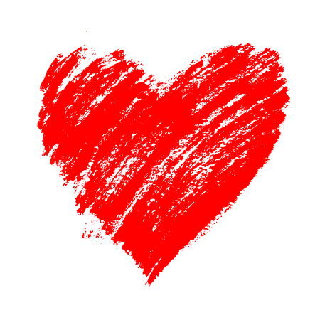 Red grunge hand drawn heart with splashes and brush strokes. Symbol of love and valentine's day. Vector element for holiday design, isolated on white.