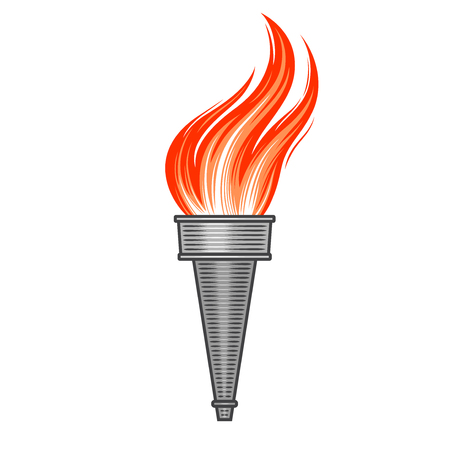 Steel metallic torch with flame in vintage style. Symbol of sport and victory in retro