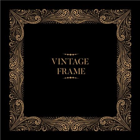 Vintage square ornamental openwork lace floral frame