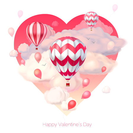 Valentine`s day 3d vector illustration. Pink heart with realistic flying hot air balloons and semitransparent clouds. Holiday card template in cartoon style isolated on white. Editable objects Иллюстрация