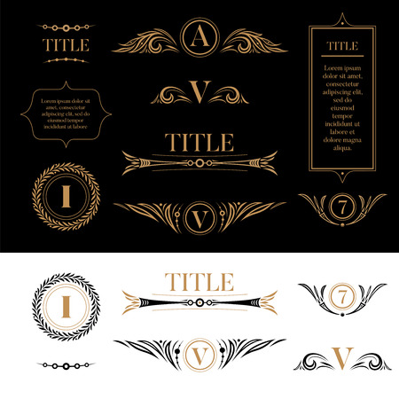 Set of design elements in retro vintage style. Golden floral ornamental detailes, frames, wreaths for placing logo, text or title. For card, document, charter. For business and sport. Yellow on black